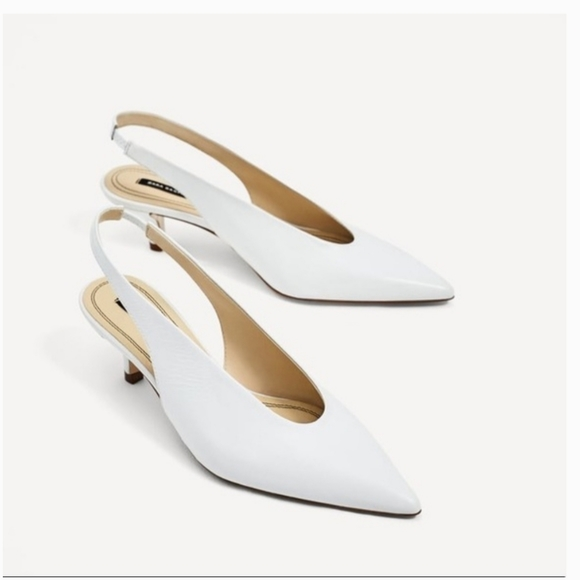Zara Shoes | White Leather Kitten Heel